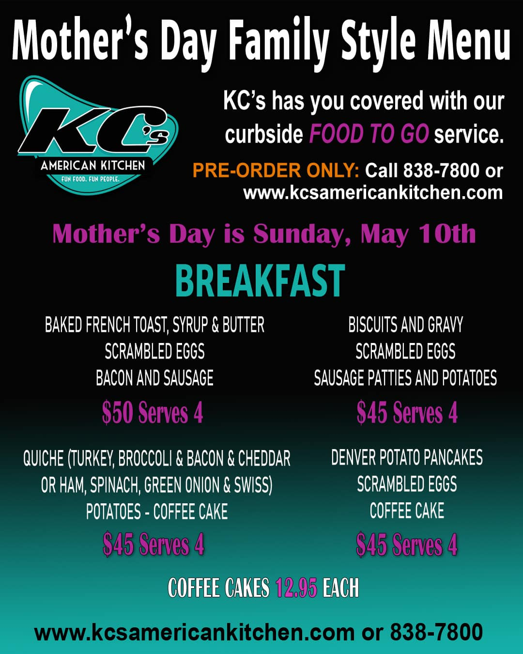 Mother's Day breakfast to go at KC's American Kitchen in Windsor, CA.