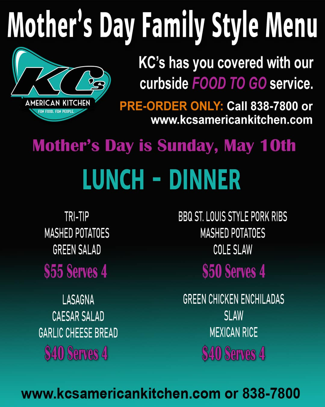 Mother's Day lunch and dinner to go at KC's American Kitchen in Windsor, CA.